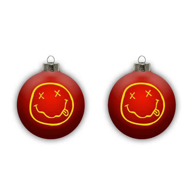 Nirvana Smiley Ornament - Red