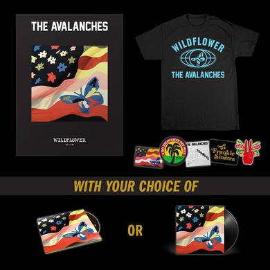 The Avalanches Wildflower T-Shirt + Patch Set + Poster + Music Bundle