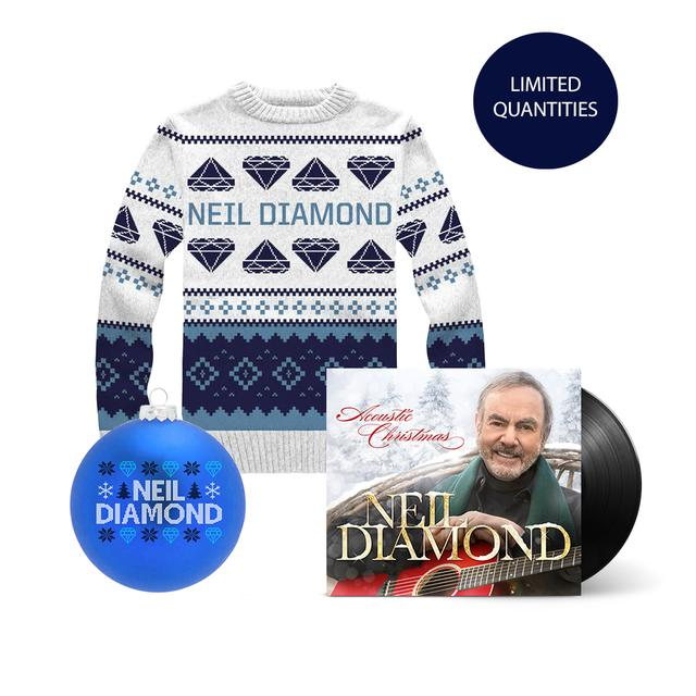 Neil Diamond Acoustic Christmas LP + Holiday Knit Sweater + Holiday Ornament
