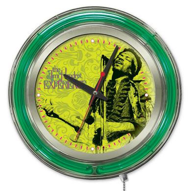 "Jimi Hendrix  15"" Neon Clock with Mircophone & Guitar Design"