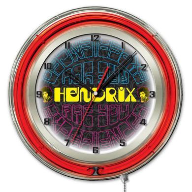 "Jimi Hendrix  19"" Neon Clock with AYE - Mirrored Design"