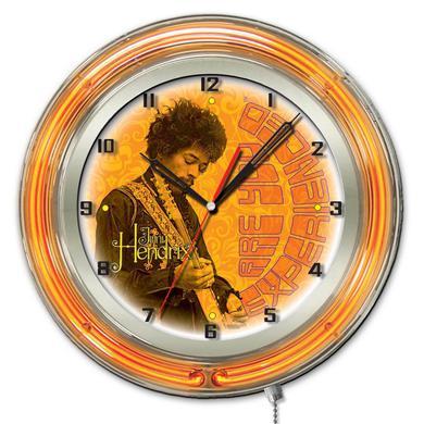 "Jimi Hendrix  19"" Neon Clock with AYE - Guitar Design"