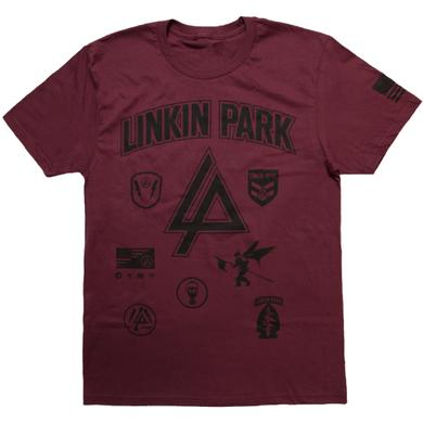 Linkin Park LP Patches Burgundy Tee
