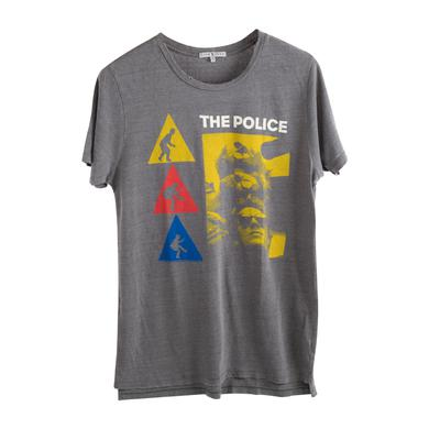 The Police Grey Three Triangles Yellow Blue Red White Lettering T-Shirt