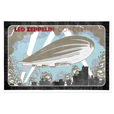 Led Zeppelin Concert 80 with Blimp Numbered 24x36 Lithograph
