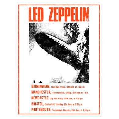 Led Zeppelin UK Tour June 1969 Numbered 18x24 Screen Print