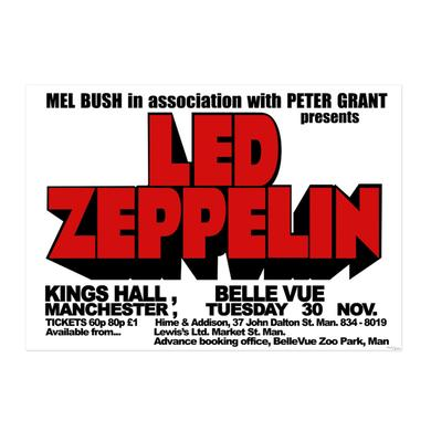 Led Zeppelin Kings Hall, Belle Vue, Manchester 1971 Numbered 18x24 Screen Print