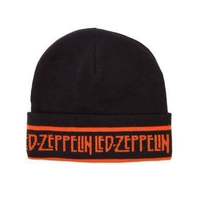 Led Zeppelin Black Beanie Hat With Orange Logo