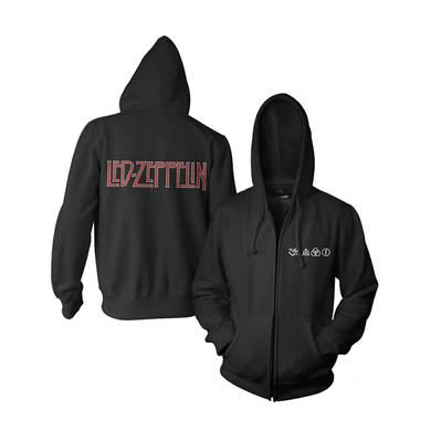 Led Zeppelin Logo And Symbols Black Zip Hoodie