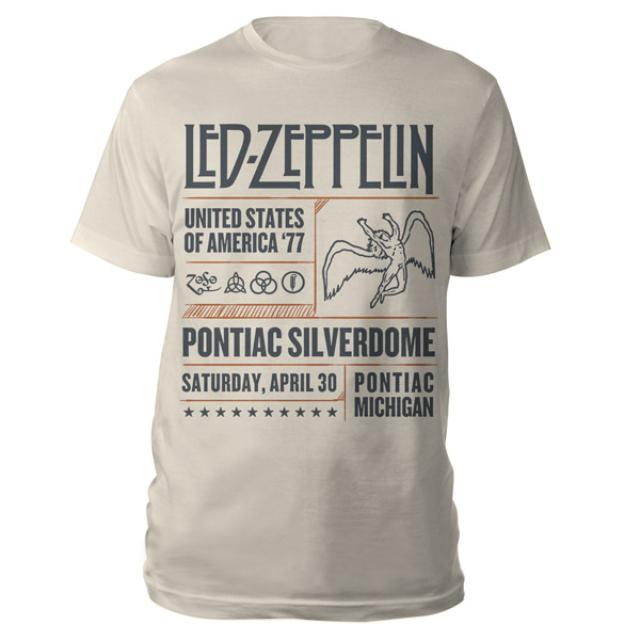 Led Zeppelin Pontiac Silverdome Event Natural T-Shirt