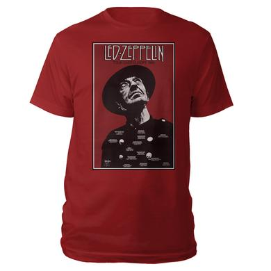 Led Zeppelin Tour Over Europe 1980 Crimson T-Shirt