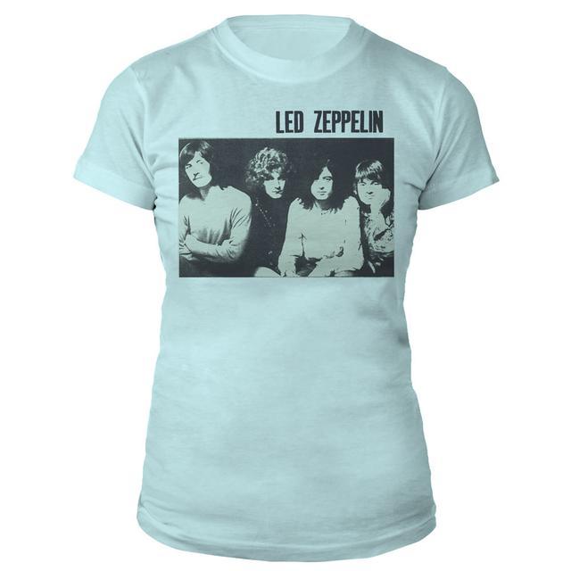 Led Zeppelin Black And White Band Photo Women's Light Blue T-Shirt