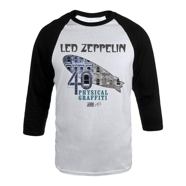 Led Zeppelin Physical Graffiti Album Art Blimp on a White & Black Raglan Sleeve Shirt