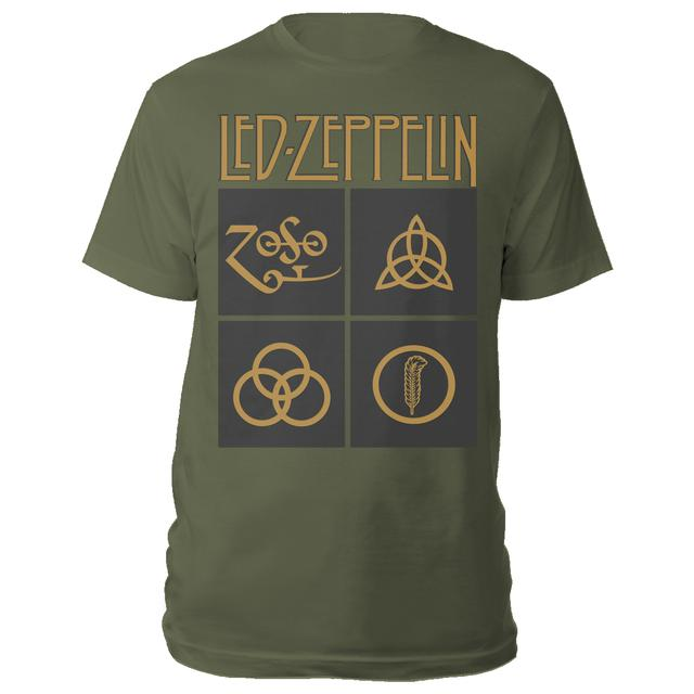 Led Zeppelin Gold Symbols in Black Squares Olive Green T-Shirt