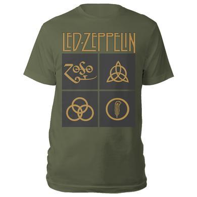 Led Zeppelin Gold Symbols in Black Squares Olive Green T-Shirt