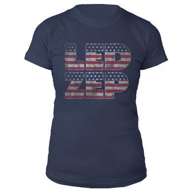 Led Zeppelin LED ZEP Stars 'n' Stripes Women's Navy T-Shirt