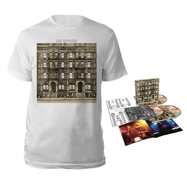 Led Zeppelin Physical Graffiti Deluxe Edition CD + Album White T-Shirt