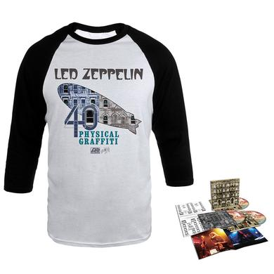 Led Zeppelin Physical Graffiti Deluxe Edition CD + Album Art Blimp White & Black Raglan