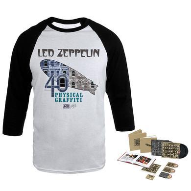 Led Zeppelin Physical Graffiti Super Deluxe Edition Box Set + Album Art Blimp White & Black Raglan