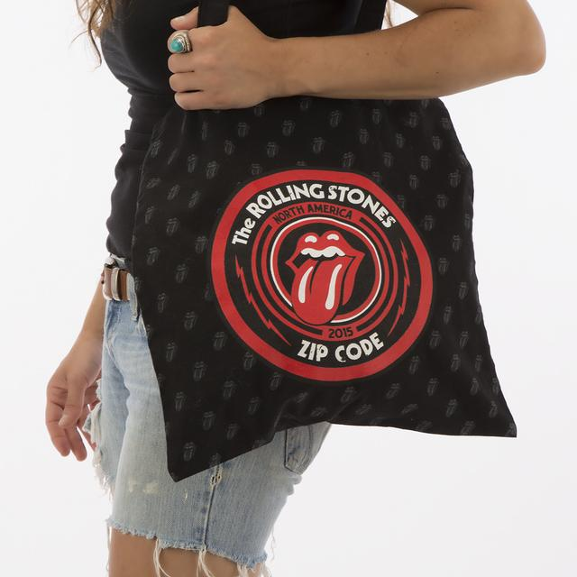 Rolling Stones All Over Pattern Tongue Tote Bag