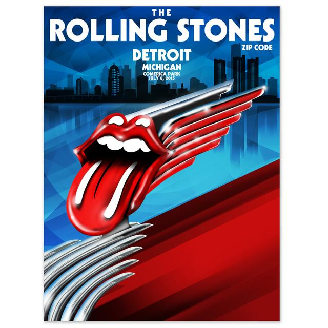 Rolling Stones Detroit Hood Ornament Litho