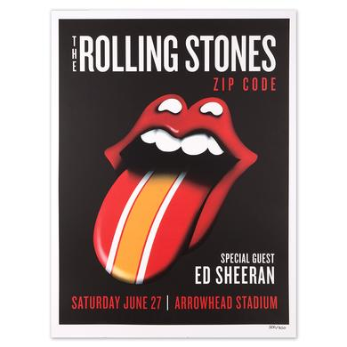 Rolling Stones - Ed Sheeran Kansas City Zip Code Litho