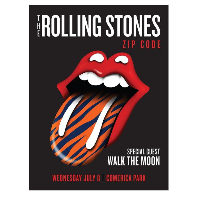 Rolling Stones - Walk The Moon Detroit Zip Code Litho