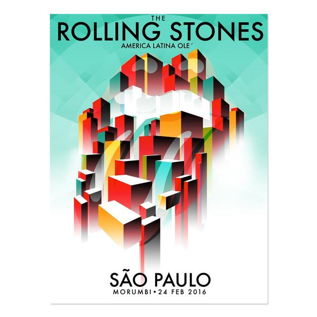 The Rolling Stones São Paulo Abstract City Lithograph