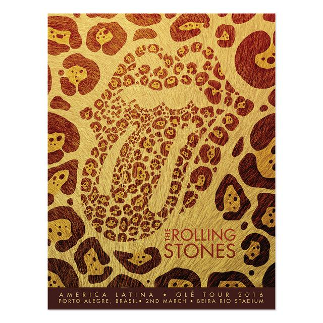 The Rolling Stones Porto Alegre Jaguar Tongue Lithograph