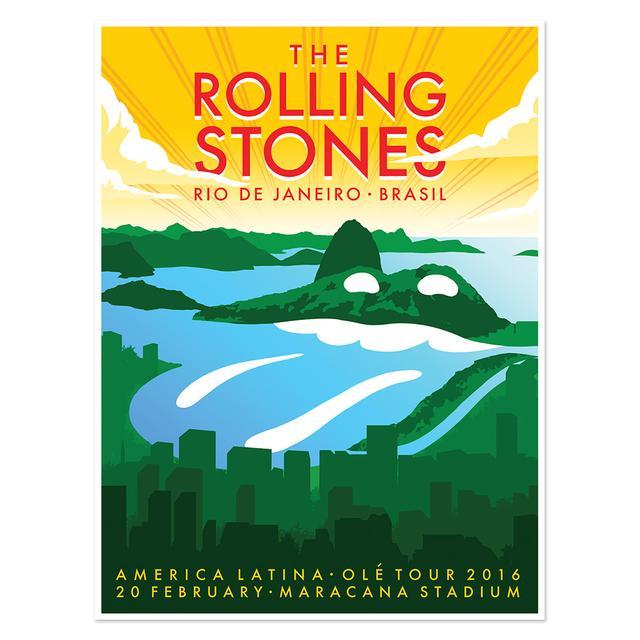 The Rolling Stones Rio de Janeiro Mountains Lithograph