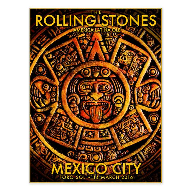 The Rolling Stones RS Mexico Mayan Calendar Litho