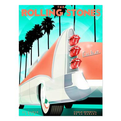 The Rolling Stones RS Cuba Car Lithograph