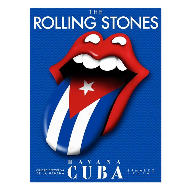 The Rolling Stones RS Cuba Flag Tongue Lithograph
