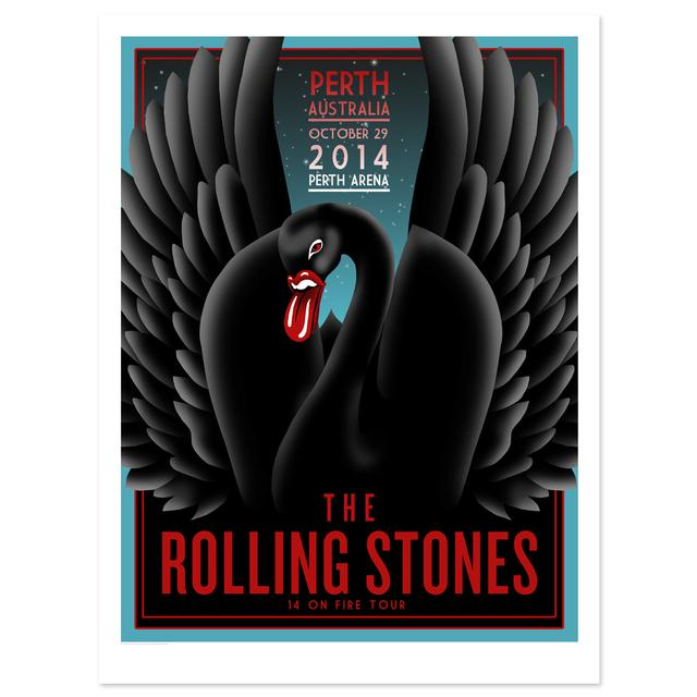 Rolling Stones Perth Black Swan Litho