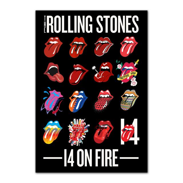 Rolling Stones Tongue Evolution 14 Sticker Pack
