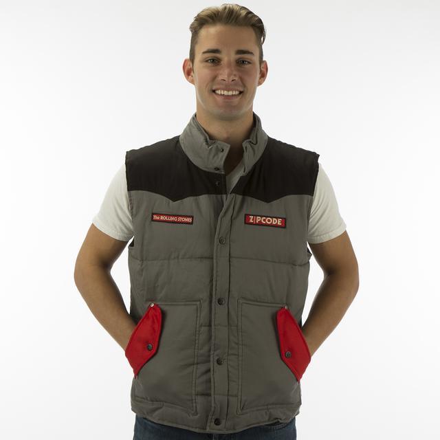 Rolling Stones Zip Code Black-Grey Contrast Puffer Vest