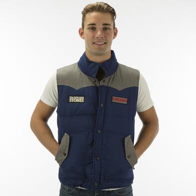 Rolling Stones Zip Code Blue-Grey Contrast Puffer Vest