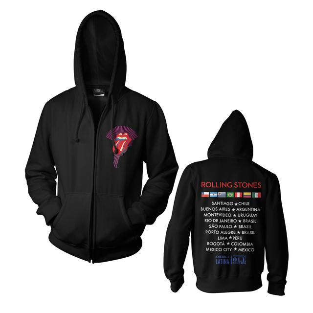 The Rolling Stones RS Ole Core Tour Black Zip Hoodie