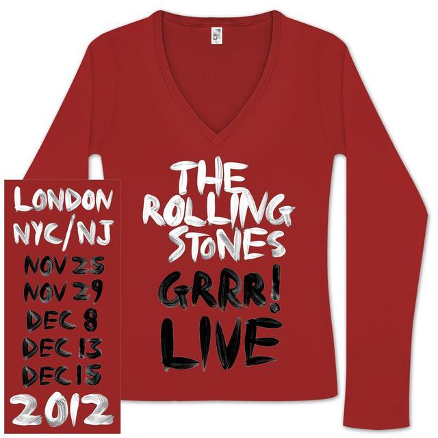 Rolling Stones Ladies GRRR! V-Neck Tour Shirt
