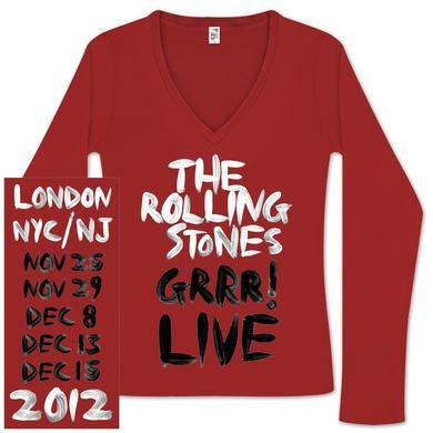 Rolling Stones Ladies GRRR! V-Neck Tour Shirt