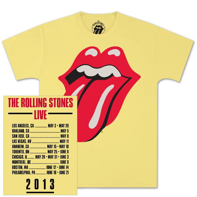 Rolling Stones Yellow Tongue Date Back T-Shirt