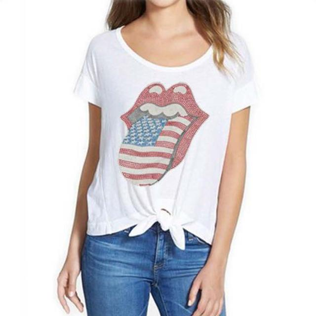 Rolling Stones USA Bling Tongue Ladies Knot T-Shirt