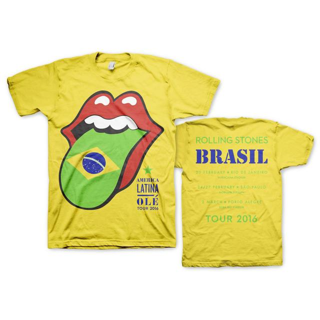 The Rolling Stones Brasil Flag Tongue and Lips T-Shirt