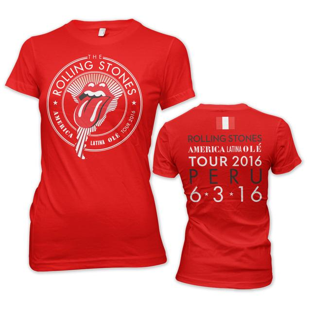 The Rolling Stones RS Peru Womens Seal Dateback Red Tee