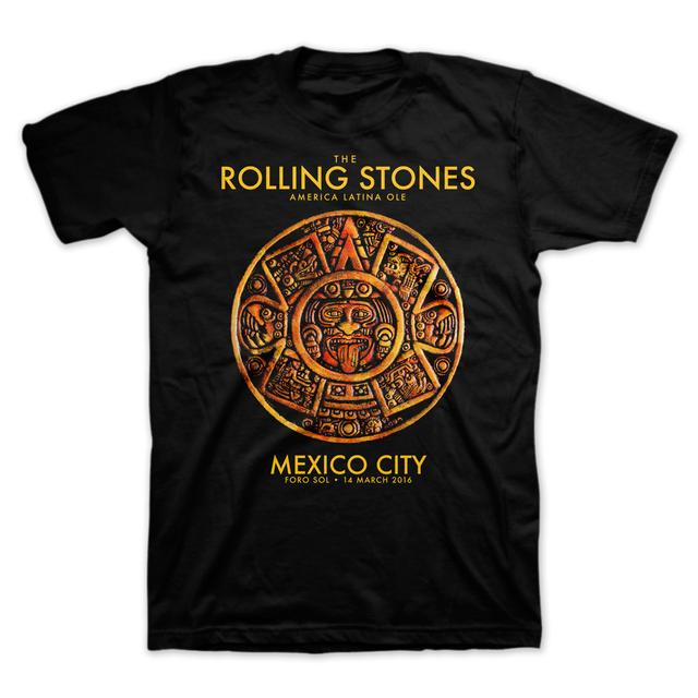 The Rolling Stones RS Mexico Mayan Calendar Black Tee