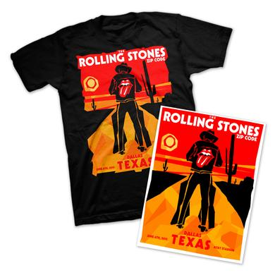 Rolling Stones Dallas Cowboy T-Shirt & Litho Bundle