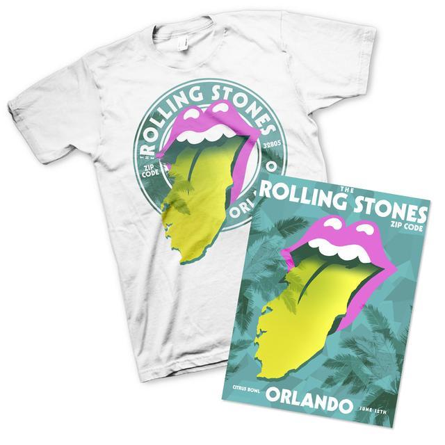 Rolling Stones Orlando Tongue T-Shirt & Litho Bundle