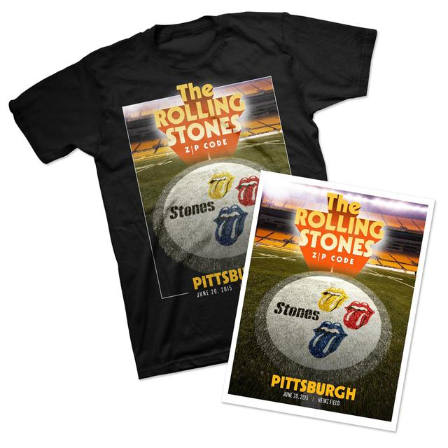 Rolling Stones Pittsburgh Event T-Shirt & Litho Bundle