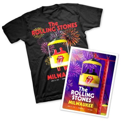 Rolling Stones Milwaukee T-Shirt & Litho Bundle