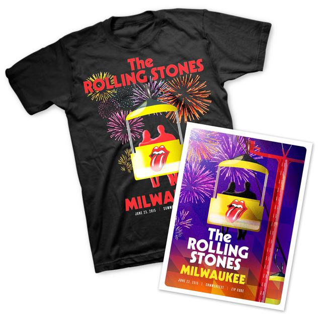 Rolling Stones Milwaukee T-Shirt & Litho Bundle